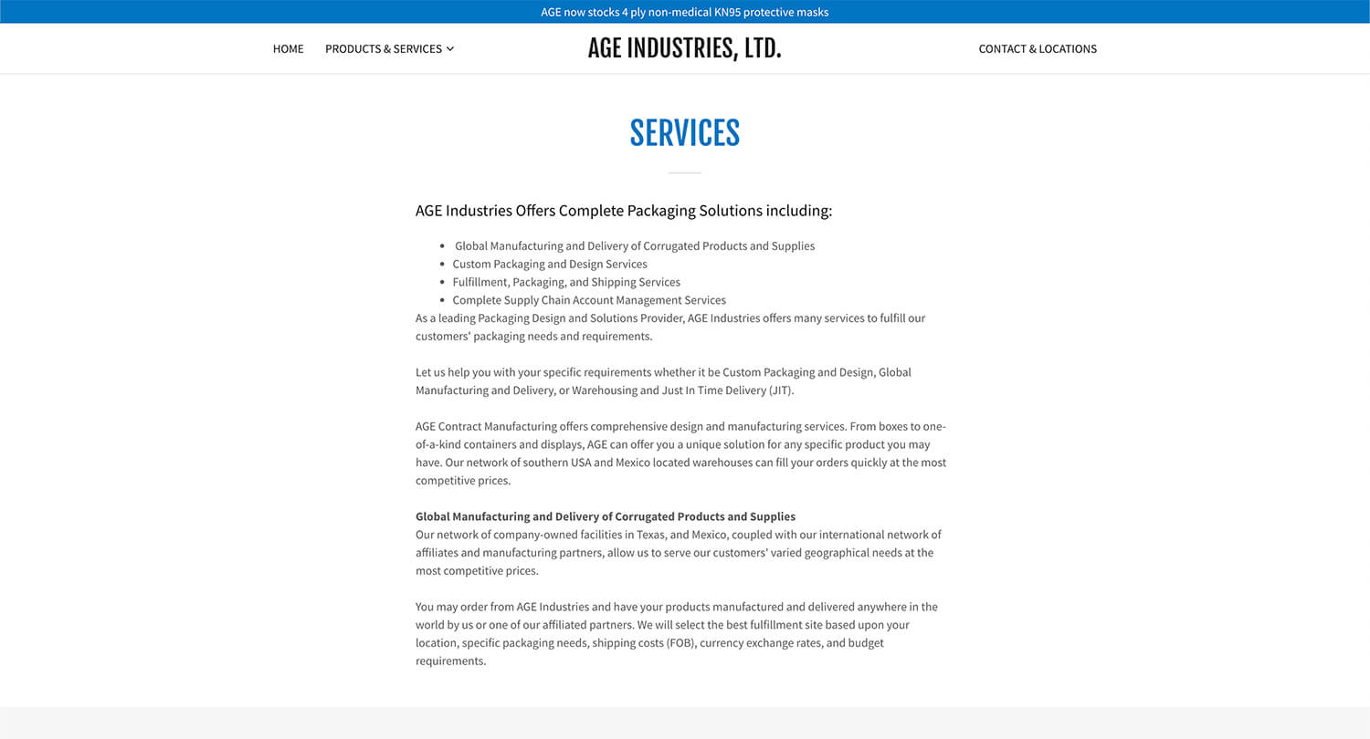 Services page image for AGE