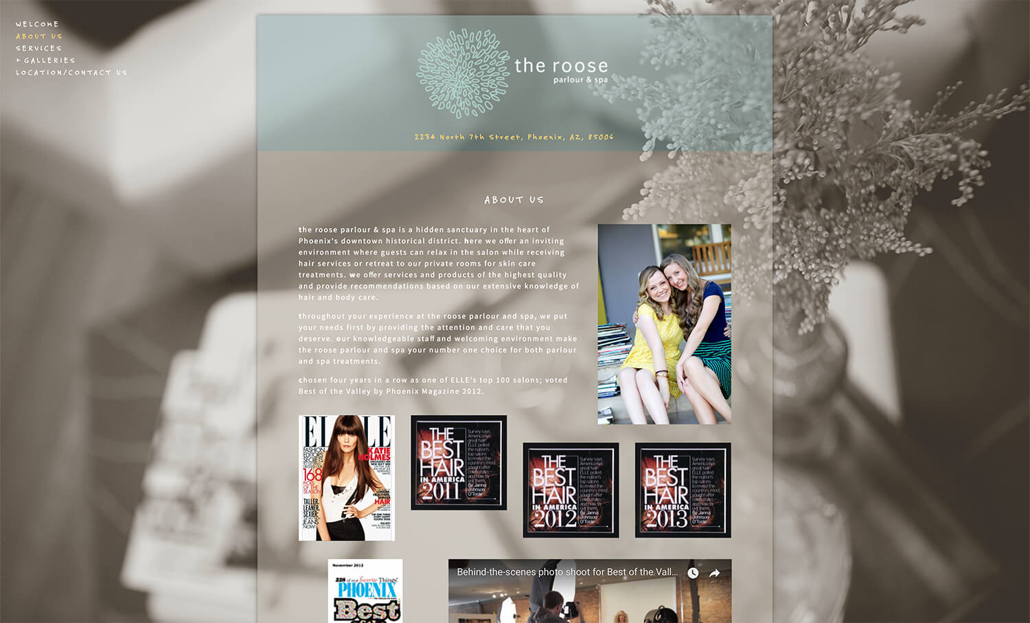 About page for the old roose design