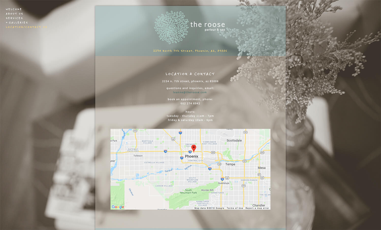 Contact page for the old roose design